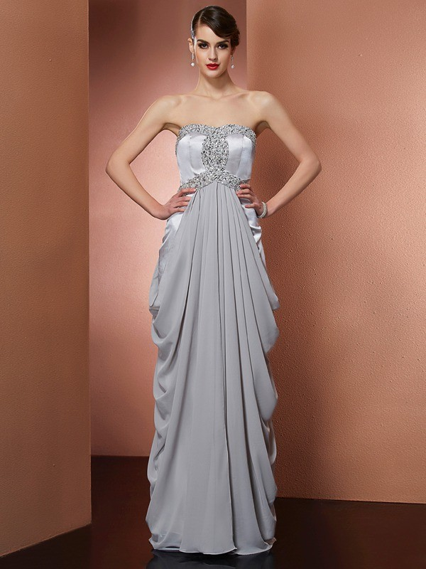 Visual Moment Sheath Style Strapless Beading Long Chiffon Dresses
