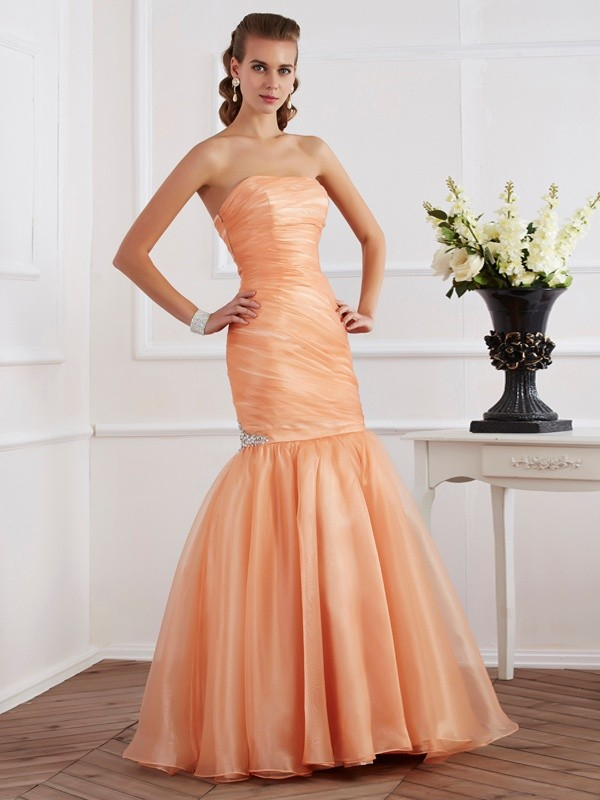 Memorable Magic Mermaid Style Strapless Beading Long Tulle Dresses