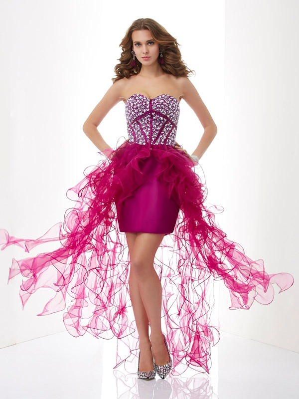Just My Style Sheath Style Sweetheart Beading Short Elastic Woven Satin Homecoming Dresses