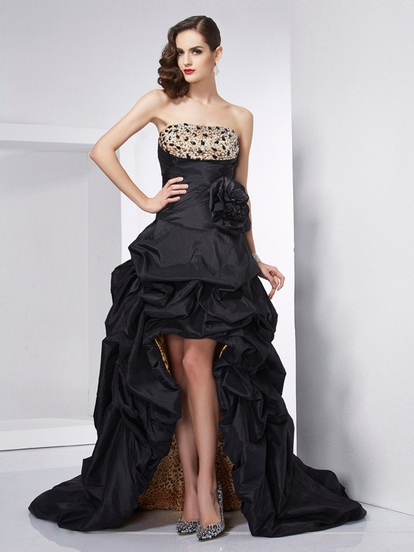 Festive Self Princess Style Strapless Beading High Low Taffeta Dresses