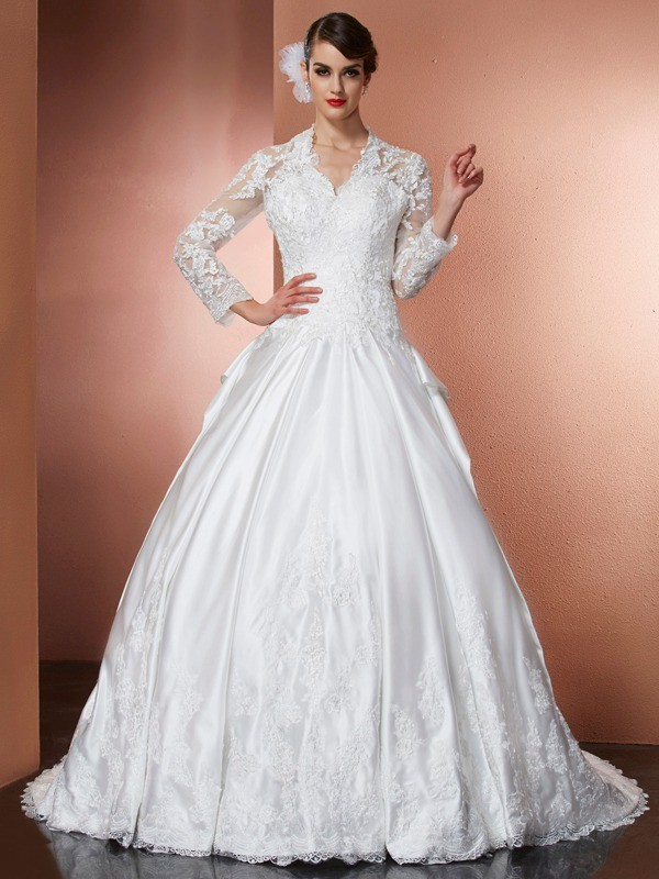 Fabulous Fit Princess Style V-neck Applique Long Satin Wedding Dresses