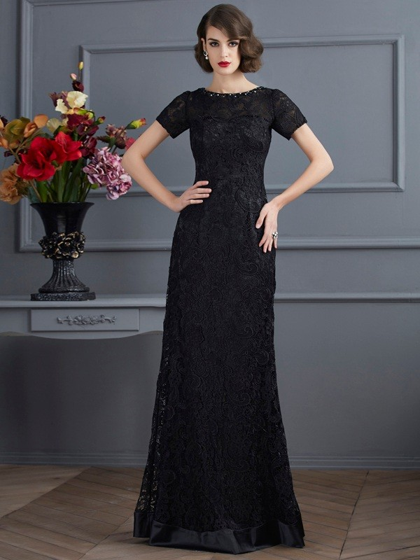 Visual Moment Sheath Style High Neck Lace Long Elastic Woven Satin Dresses