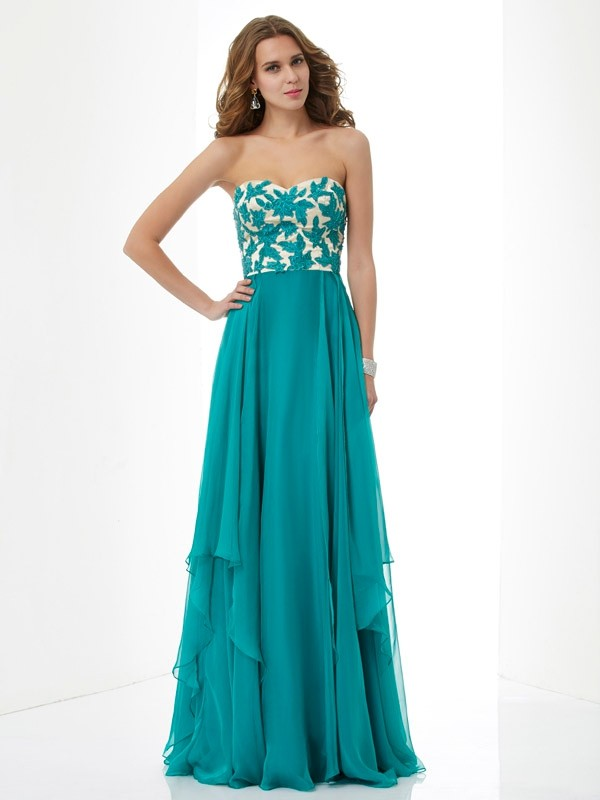 Glitz the Spot Princess Style Sweetheart Applique Long Chiffon Dresses