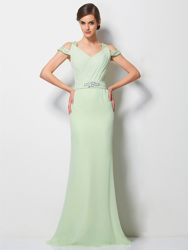 Cordially Delighted Princess Style V-neck Beading Long Chiffon Dresses