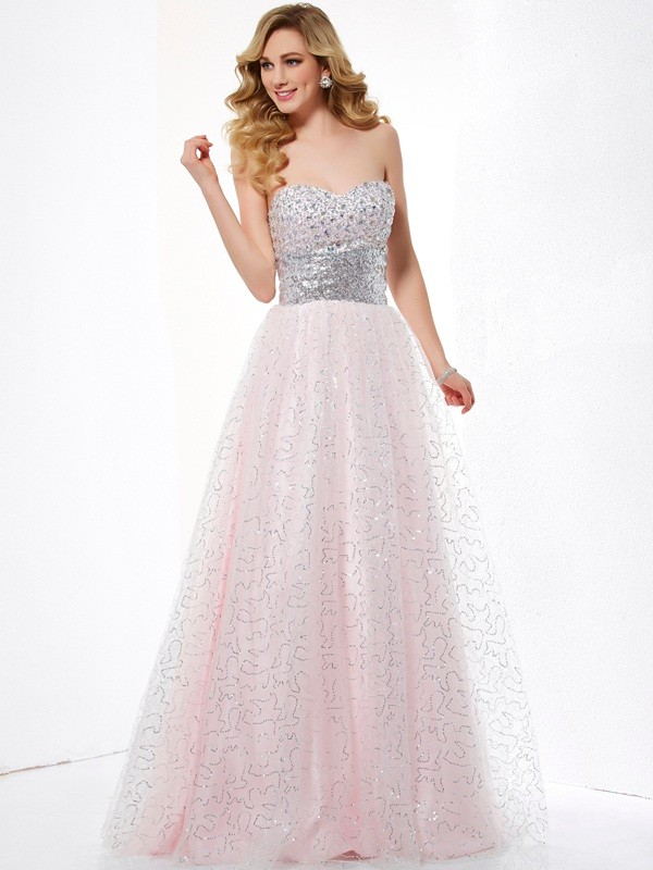 Cheerful Spirit Ball Gown Sweetheart Long Net Dresses