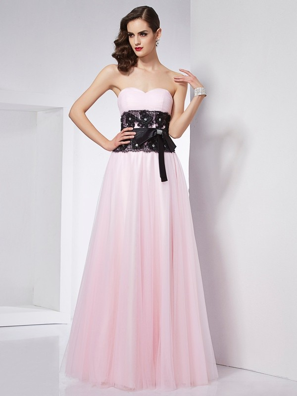 Easily Adored Princess Style Sweetheart Lace Long Net Dresses