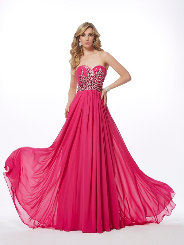 Befits Your Brilliance Princess Style Sweetheart Pleats Long Chiffon Dresses