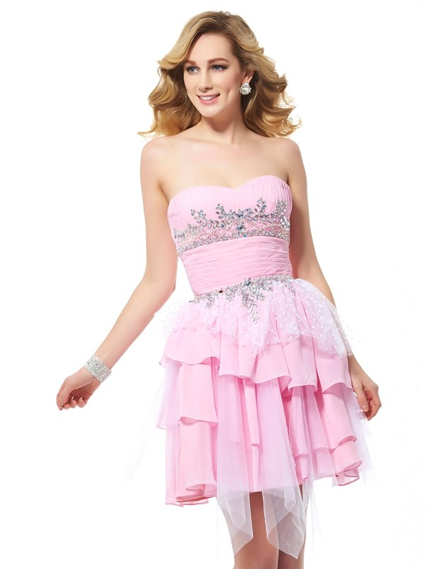 Modern Mood Princess Style Sweetheart Beading Short Chiffon Homecoming Dresses