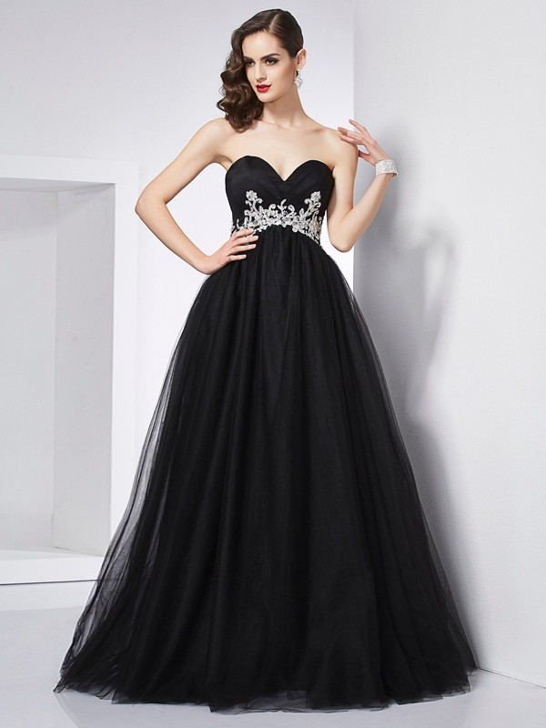 Pleasant Emphasis Ball Gown Sweetheart Applique Long Net Quinceanera Dresses
