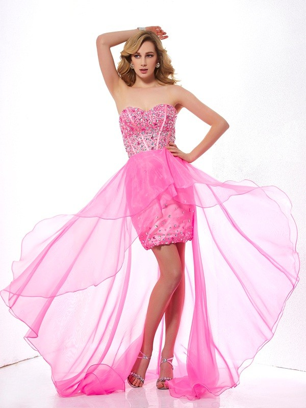 Treasured Reveries Princess Style Sweetheart Beading High Low Organza Dresses