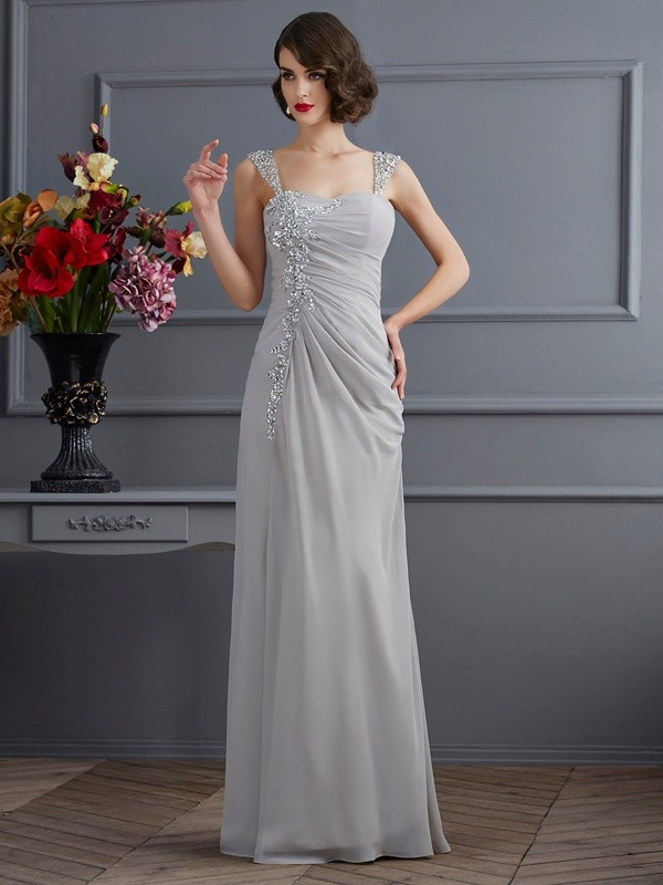 Pleased to be Me Mermaid Style Straps Beading Long Chiffon Dresses
