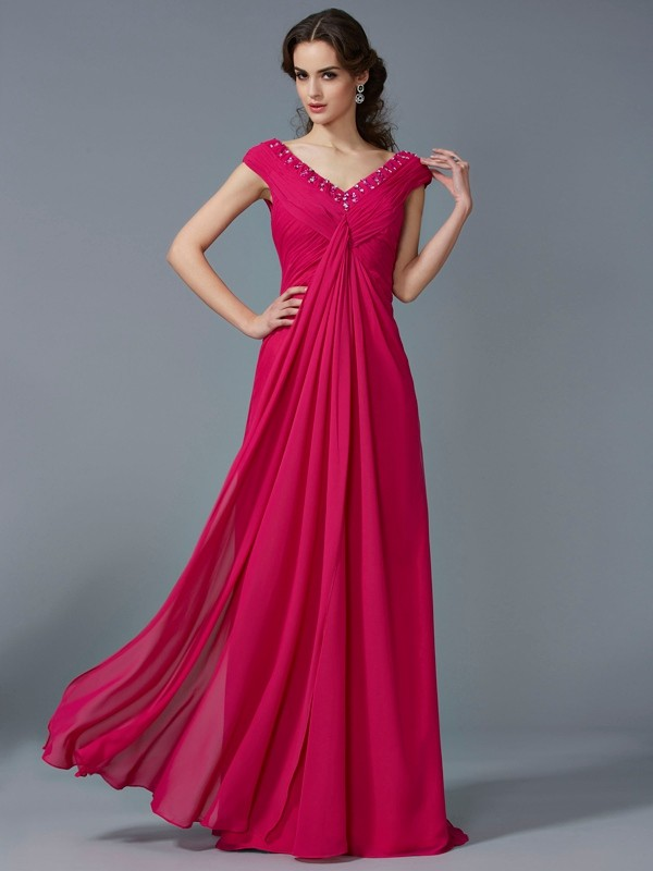 Dancing Queen Princess Style Beading V-neck Long Chiffon Dresses
