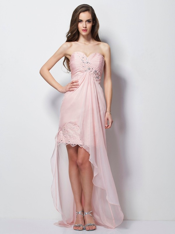 Stylish Refresh Princess Style Sweetheart Beading Applique High Low Chiffon Dresses