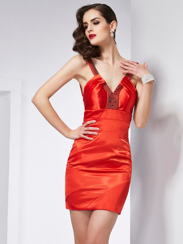 Just My Style Sheath Style V-neck Beading Short Elastic Woven Satin Homecoming Dresses