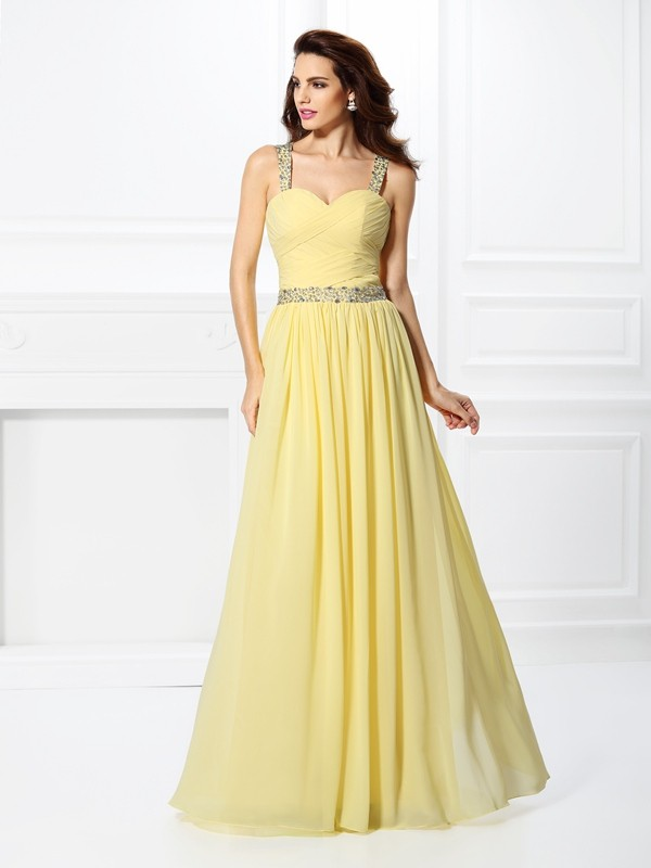 Pleasant Emphasis Princess Style Sweetheart Beading Long Chiffon Dresses