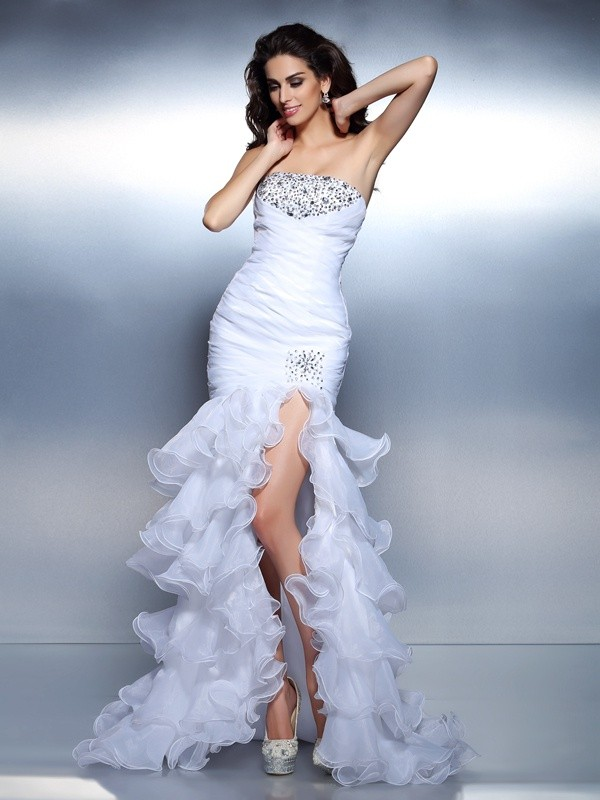 Voiced Vivacity Mermaid Style Strapless Beading Ruched Long Organza Dresses