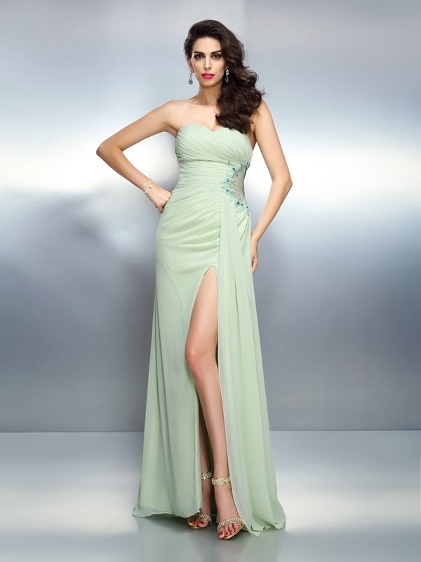 Festive Self Princess Style Sweetheart Pleats Long Chiffon Dresses