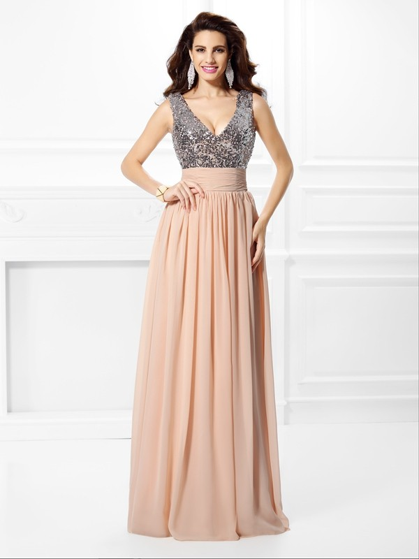 Pleased to be Me Princess Style V-neck Paillette Long Chiffon Dresses