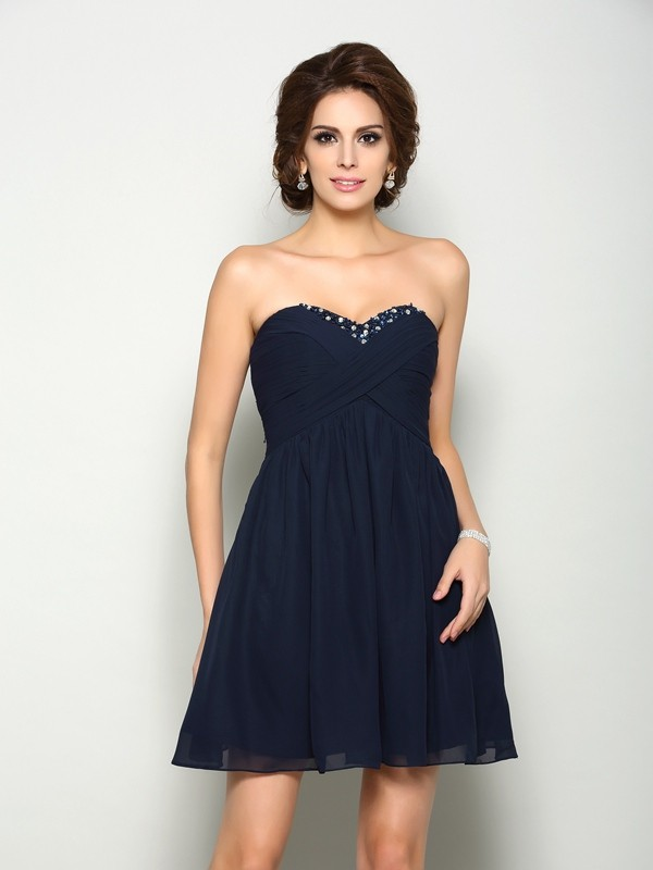Stylish Refresh Princess Style Sweetheart Beading Short Chiffon Homecoming Dresses