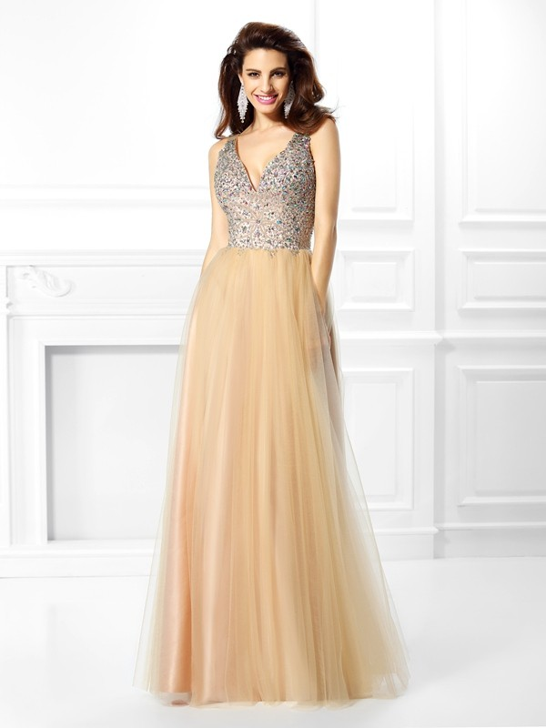 Lively Identity Ball Gown V-neck Beading Long Satin Quinceanera Dresses