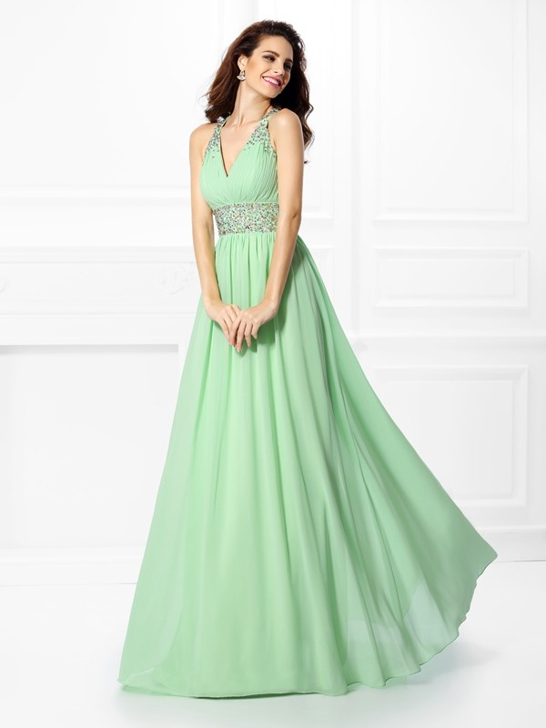 Naturally Chic Princess Style V-neck Beading Long Chiffon Dresses