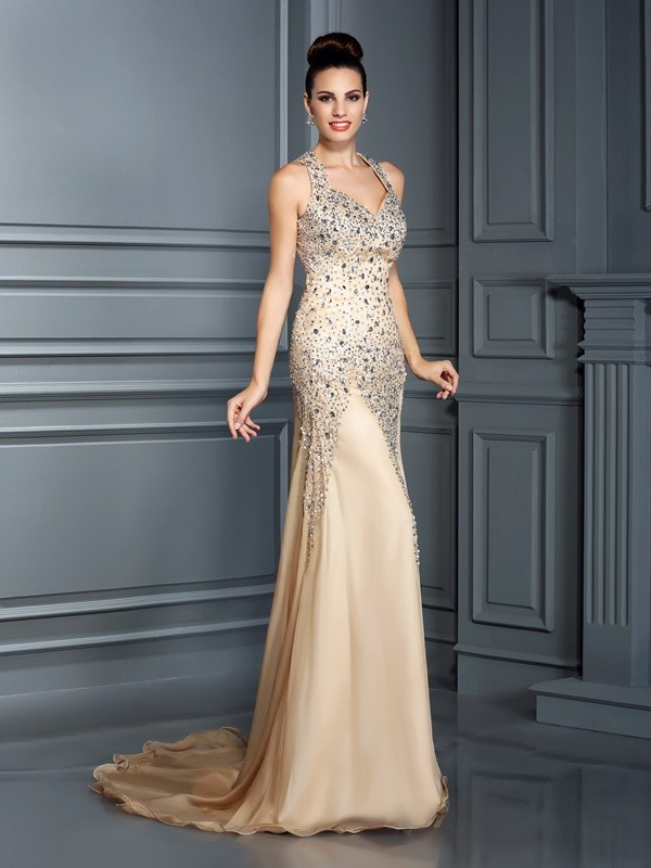 Savor the Occasion Princess Style Straps Beading Long Chiffon Dresses