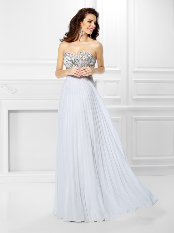 Time to Shine Empire Sweetheart Beading Long Chiffon Dresses