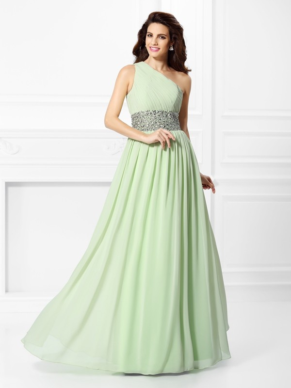 Treasured Reveries Princess Style One-Shoulder Beading Long Chiffon Dresses