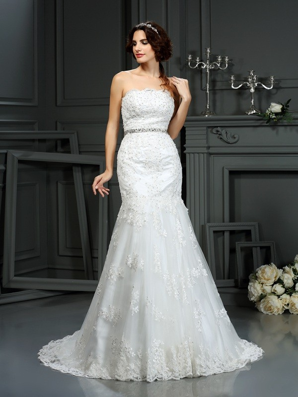 Desired Spotlight Mermaid Style Strapless Beading Long Lace Wedding Dresses