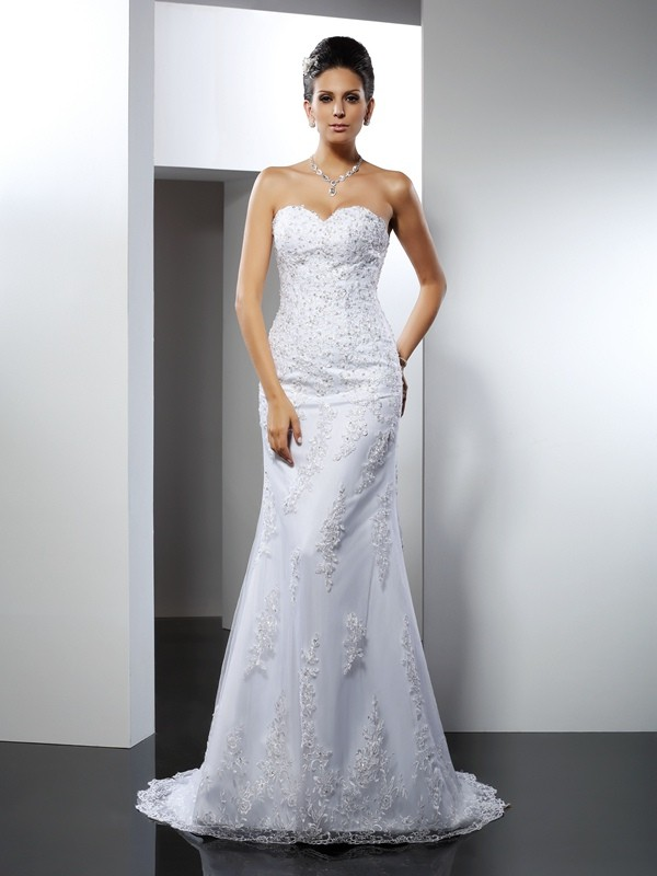 Efflorescent Dreams Mermaid Style Sweetheart Lace Long Satin Wedding Dresses