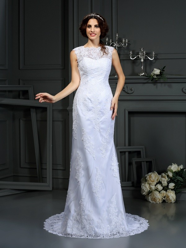 Voiced Vivacity Sheath Style High Neck Lace Long Lace Wedding Dresses