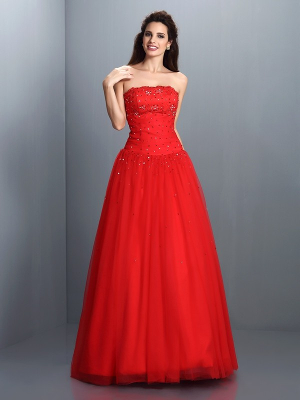 Fresh Picks Ball Gown Strapless Beading Long Organza Quinceanera Dresses