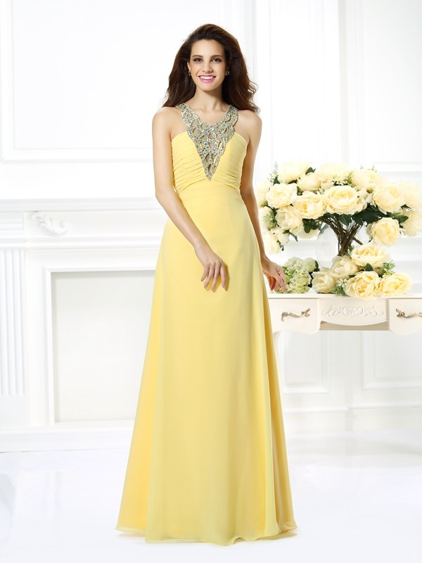 Befits Your Brilliance Princess Style V-neck Beading Long Chiffon Dresses