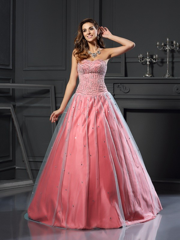 Aesthetic Honesty Ball Gown Sweetheart Beading Long Satin Quinceanera Dresses