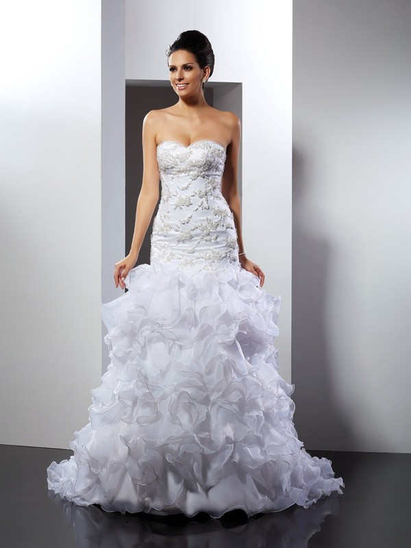Desired Spotlight Mermaid Style Sweetheart Beading Long Organza Wedding Dresses