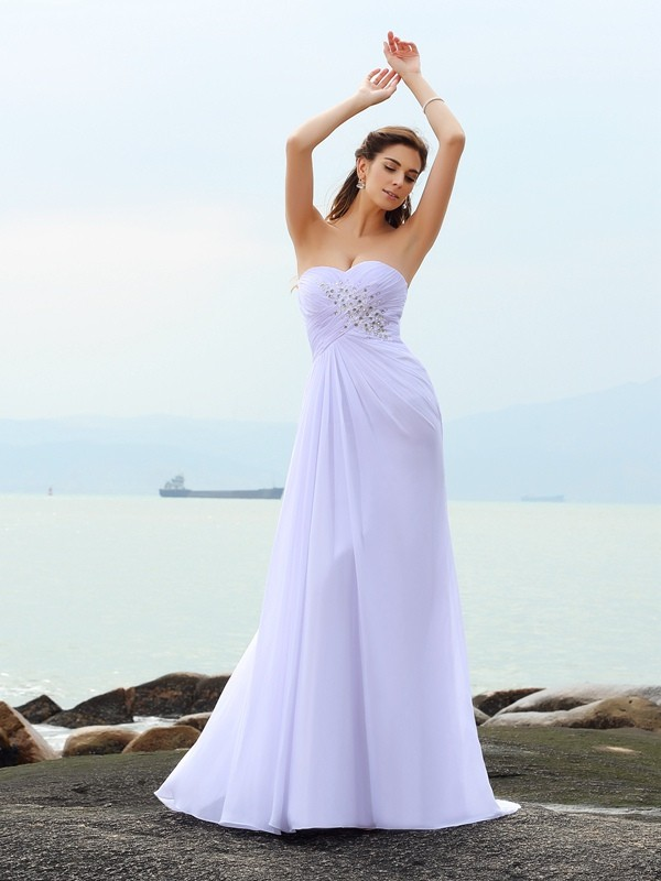 Efflorescent Dreams Sheath Style Sweetheart Beading Long Chiffon Beach Wedding Dresses