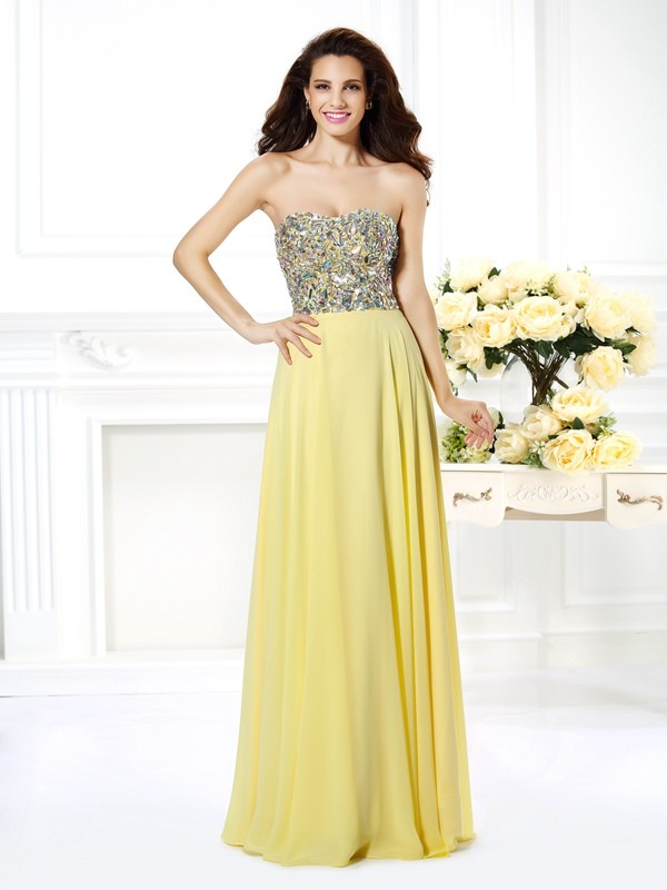 Confident Option Princess Style Strapless Beading Long Chiffon Dresses