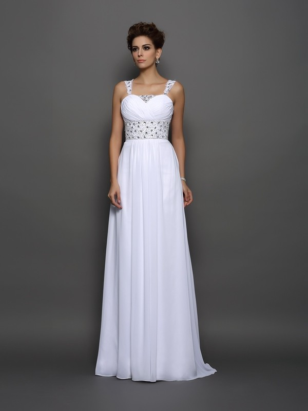 Just My Style Princess Style Straps Beading Long Chiffon Wedding Dresses