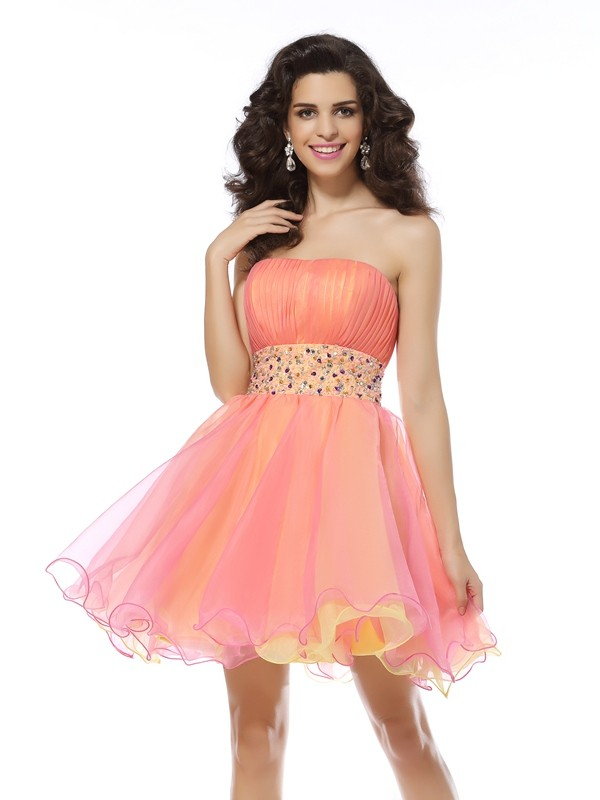 Embracing Grace Princess Style Strapless Beading Short Organza Cocktail Dresses