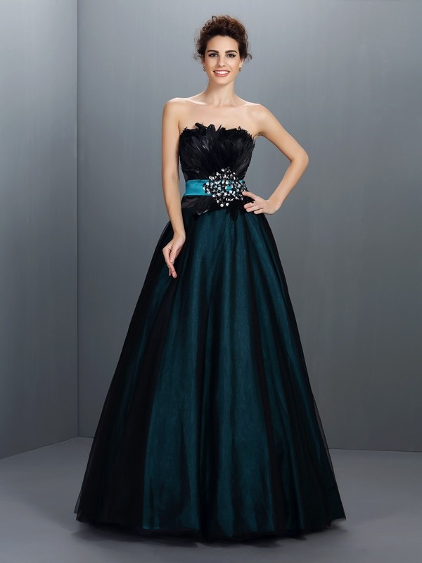 Modern Mood Ball Gown Strapless Feathers/Fur Long Elastic Woven Satin Quinceanera Dresses
