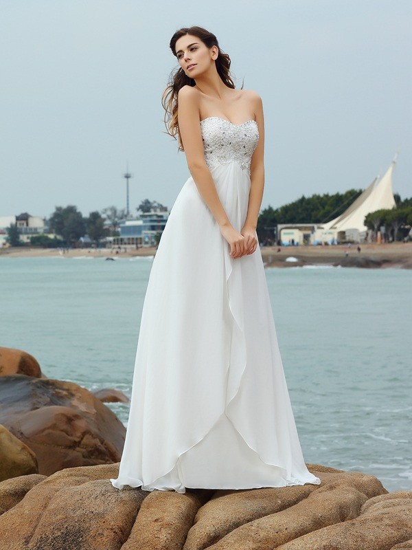 Treasured Reveries Princess Style Sweetheart Beading Long Chiffon Beach Wedding Dresses
