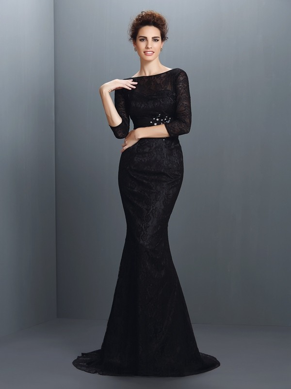 Creative Courage Mermaid Style Bateau Lace Long Elastic Woven Satin Mother of the Bride Dresses
