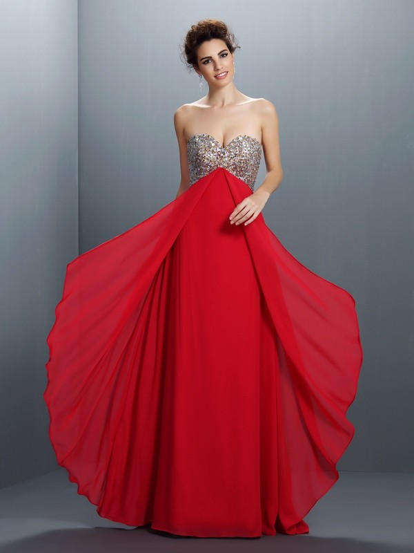 Cordially Delighted Princess Style Sweetheart Beading Paillette Long Chiffon Dresses