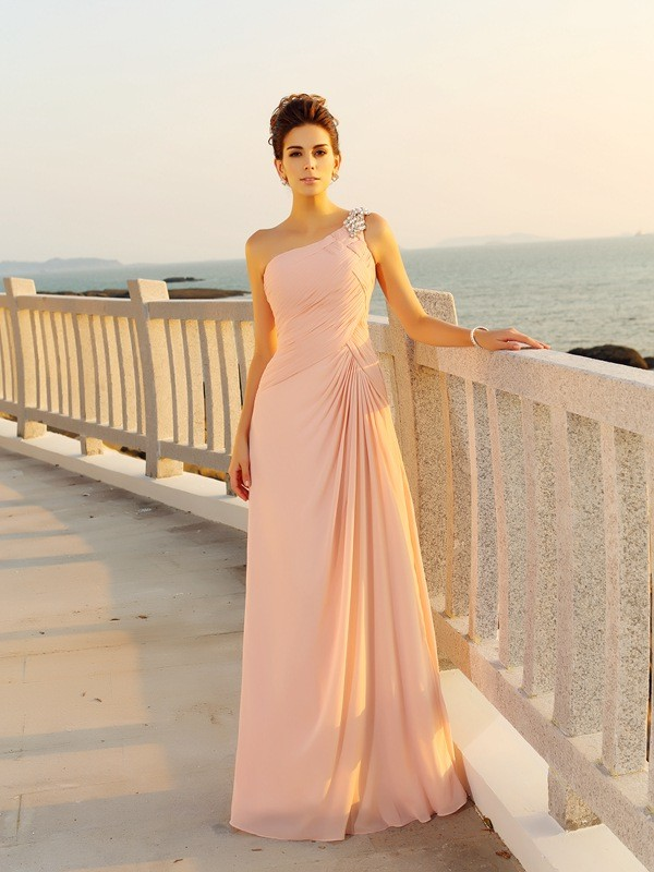 Festive Self Princess Style One-Shoulder Beading Long Chiffon Dresses