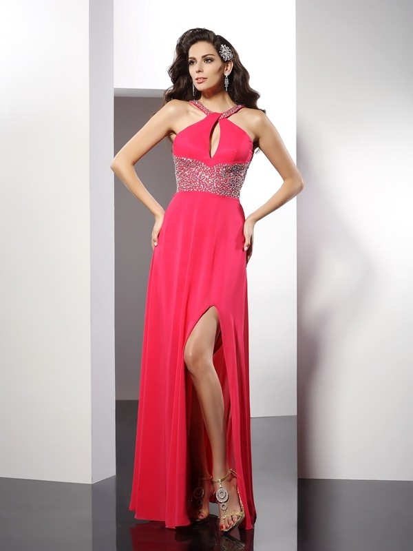Visual Moment Princess Style Scoop Beading Long Chiffon Dresses