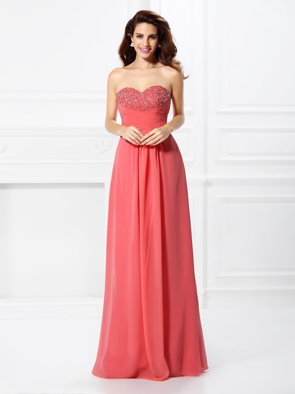 Too Much Fun Princess Style Sweetheart Beading Long Chiffon Dresses