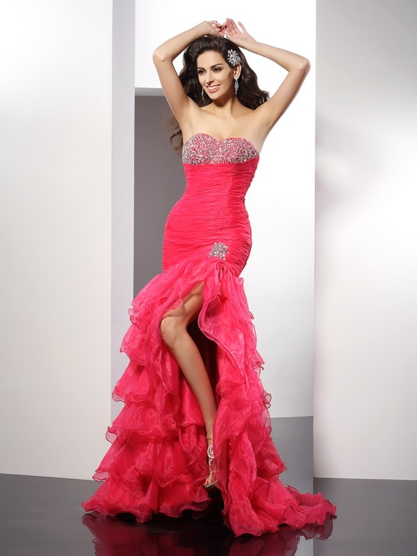 Yours Truly Sheath Style Sweetheart Beading Long Organza Dresses
