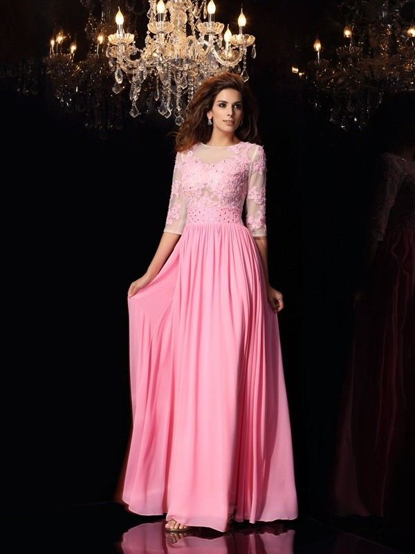 Embracing Grace Princess Style Scoop Applique Long Silk like Satin Dresses