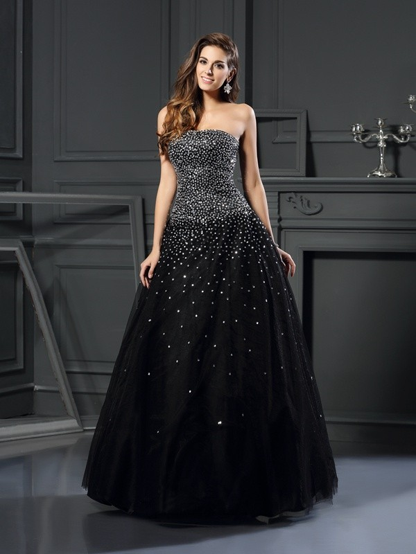 Modern Mood Ball Gown Strapless Beading Long Satin Quinceanera Dresses