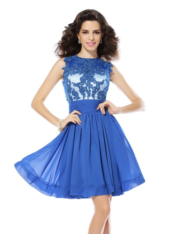 Savor the Occasion Princess Style Scoop Applique Short Chiffon Cocktail Dresses